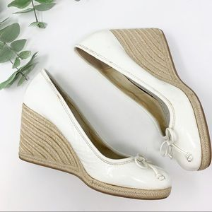 Coach Ballet Patent Leather Wedge Espadrilles